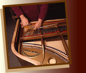 re-stringing piano